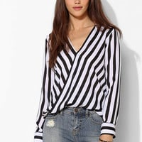 BB Dakota Paxton Surplice Stripe Blouse - Urban Outfitters