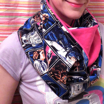 Pink Star Wars Infinity Scarf - Soft Cotton Flannel - Black Blue Star Wars Scarf - Original Cast Characters - Leah Hans Yoda Chewbacca