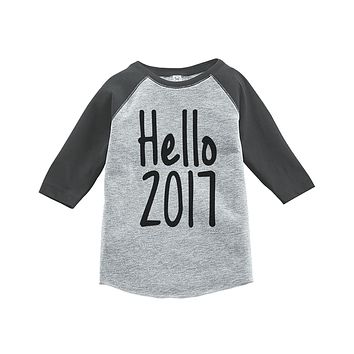 Custom Party Shop Kids Hello 2017 Happy New Year Raglan Shirt
