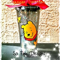 Customized 20 oz. Winnie the Pooh and Tigger Acrylic Acrylic cup with screw on lid and straw
