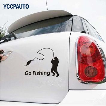 Car Sticker Go Fishing Fashion Decor Car-Styling Vinyl Deca Stickers Decals Auto Truck Laptop Motorcycle Decoration 140x110mm