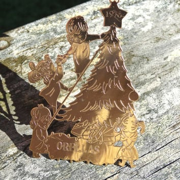1970s Vintage Christmas Tree Ornament Lillian Vernon Moppets Orellas Family Little Children