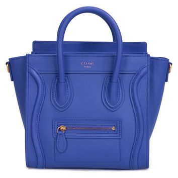 Celine Nano Luggage Bag in Smooth Indigo Calfskin Leather