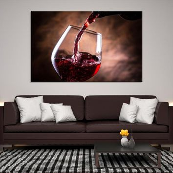 56849 - Pouring Wine Canvas Art | Wine Glass Art | Kitchen Wall Art | Wine Glass Canvas Art | Framed Wine Canvas | Large Wine Printing
