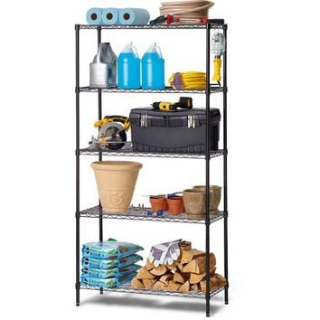 Work Choice 5-Tier Commercial Wire Shelving Rack, Black - Walmart.com