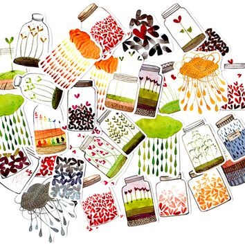 47pcs Self-made Flower Bottle Scrapbooking Stickers Decorative Sticker DIY Craft Photo Albums Decals Diary Deco