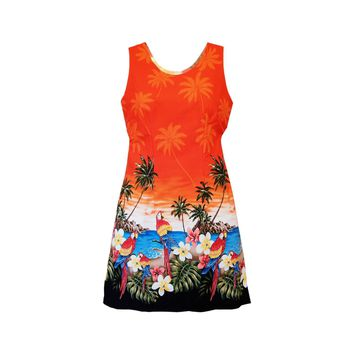 Parrot-Dise Orange Short Hawaiian Tank Floral Dress