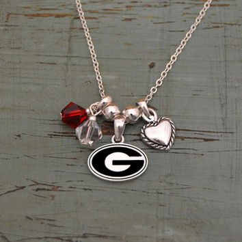 Georgia Bulldogs Crystal Bead Duo & Heart w/Logo Charms Necklace