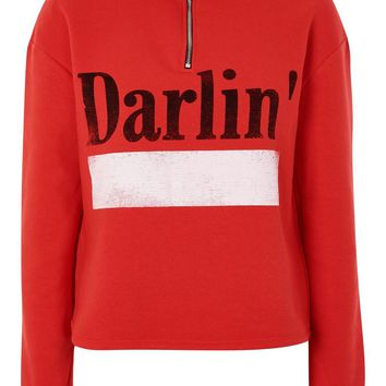 'Darlin' Slogan Zip Sweatshirt | Topshop