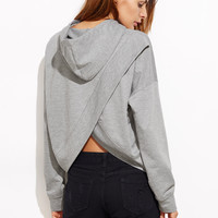 Drop Shoulder Tulip back Slub Hoodie -SheIn(Sheinside)