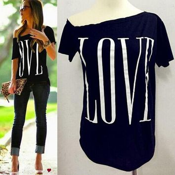 Women cute LOVE letters print T shirt short sleeve off shoulder shirts camisas femininas casual solid plus size tops