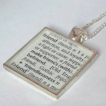 Friend dictionary definition resin necklace