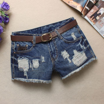 Summer Denim Shorts Korean Rinsed Denim Ripped Holes Jeans [6048825921]