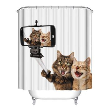 Home Bath Curtain For Bathroom Custom Funny Christmas Shower Curtain 3d Modern Cat Waterproof Fabric Hooks Home Decoration Sales