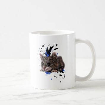 Drawing of Kitten as Cat with Paint Art Coffee Mug