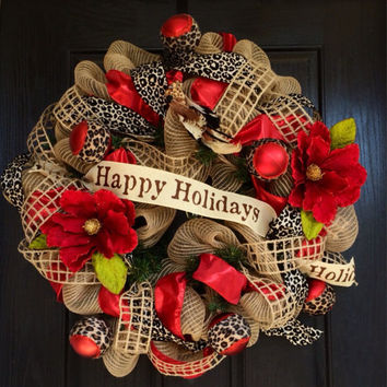 Animal print Christmas Deco Mesh wreath, Christmas mesh wreath, Happy Holidays mesh wreath, Magnolia holiday wreath,
