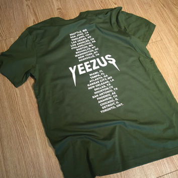 Yeezus Tour Olive Green Kanye West T-Shirt