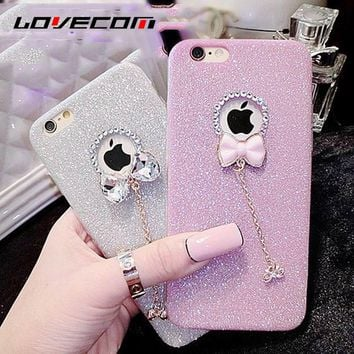 LOVECOM For iPhone 5 5S 6 6S 6Plus 6S Plus Cases Bling Shiny Bowknot Soft TPU Phone Back Cover With LOGO Window Phone Case Capa