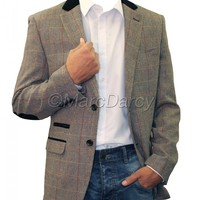 Mens Designer Vintage Checkered Grey Tailored fit Blazer (Dx7)