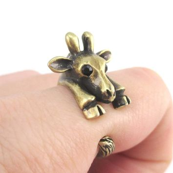 3D Giraffe Wrapped Around Your Finger Animal Ring in Brass