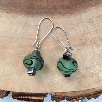 Light Green and Black Earrings, Dangle Earrings, Spring Earrings, Swirl Earrings, Glass Earrings, Floral Earrings, Womens Earrings