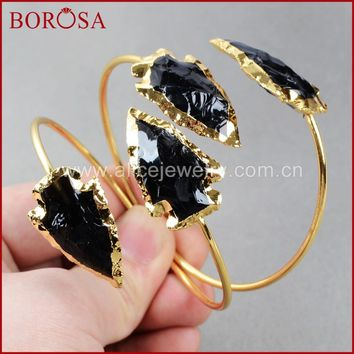 BOROSA Fashion Druzy Bangles ,Natural arrowhead Black Obsidian Bangles  Gold Quartz Adjustable Bracelet Bangles  G527