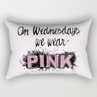 On Wednesdays We Wear Pink - Quote from the movie Mean Girls Rectangular Pillow by AllieR