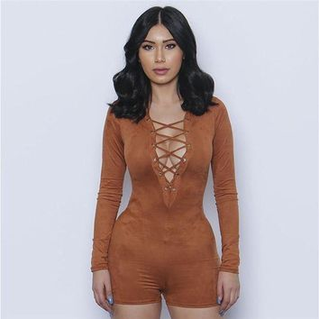 ONETOW Women 2016 Sexy Elegant Suede Fabric Women Jumpsuit Plunge V Neck Bandage Bodysuit Casual Long Sleeve Evening Jumpsuit