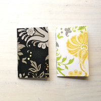 2 Tiny Journals Set, Black, Yellow, Floral, Jotters, Mini Journals, Small Notebooks, Geometric - Set of 2