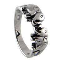 Elephant Ring 925 Sterling Silver Black Oxidized, This Twin Lucky Elephant  Fit the finger from Teen to Adult