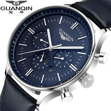 Top Brand GUANQIN New Fashion&Casual Watches Men's Big Dial Quartz Watch Luxury Designer 8 Colors Men Wristwatches