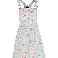 Light Blue Floral Print Dungaree Skater Dress