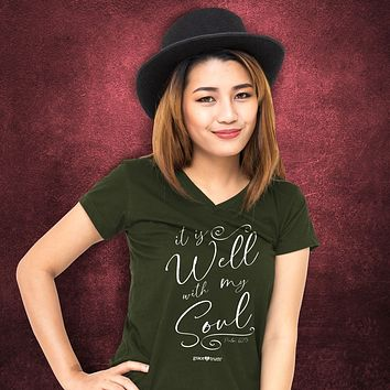 Cherished Girl Grace & Truth It is Well With My Soul V-Neck Girlie Christian Bright T Shirt