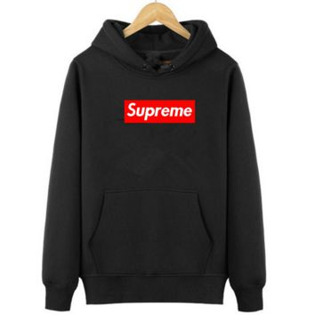 Supreme With thick printed letters long sleeve hoodie Black