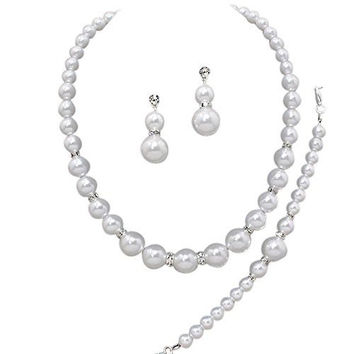 Oversize Statement White Pearl Bridal Necklace Set Prom Earring Set Y4
