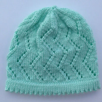 Hand Knitted, Crochet, mint Baby Girl Hat,  Baby Shower, Gift, New Born Ready to ship