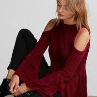 Layered Sleeve Cold Shoulder Sweater
