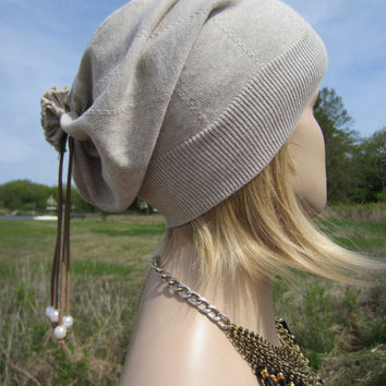 Lightweight Beanies Summer Hat Tan PIMA Cotton Slouchy Leather Tie Back Freshwater Pearls A1342
