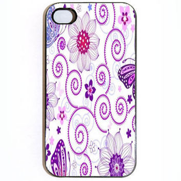 iPhone 4 4s Purple Flowers And Swirls Hard iPhone by KustomCases
