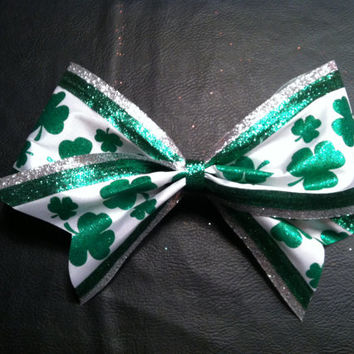 Green & White with silver trim St Patrick's Day clover leaf 3 inch cheerleader cheer bow