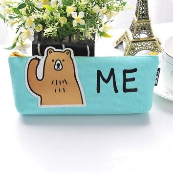 """Super Cute """"Me"""" Blue Bear Animal Zippered Pouch/Cases for Pencils, Cosmetics etc"""