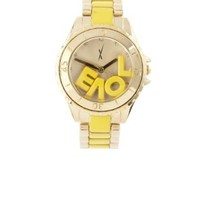 Yellow Gold & Yellow Love Watch by Charlotte Russe
