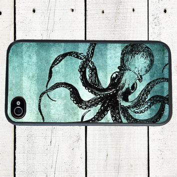 Blue Octopus Cell Phone Case  Steampunk Style Octopus  by Arete