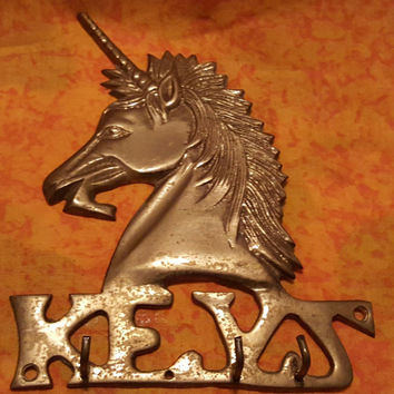 "Adorable Brass Unicorn Wall Key Holder Key Rack With Word ""Keys"""