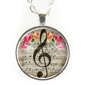 G-Clef Necklace In Gray