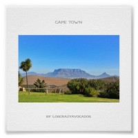 Cape Town Table Mountain Green Grass Poster