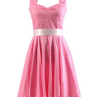Pink Polka Dot Print Sleeveless Halter Backless Sheath A-line Pleated Mini Dress with Belt
