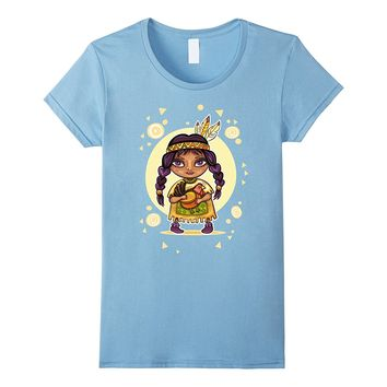 Autumn Bounty Native American Girl t-shirt