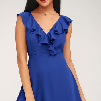 Triana Royal Blue Ruffled Backless Dress