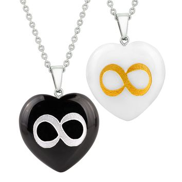 Heart Amulets Infinity Magical Unity Powers Love Couples Best Friends Agate White Quartz Necklaces